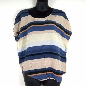 JOIE 100% Silk Crewneck Short Sleeve Striped Top